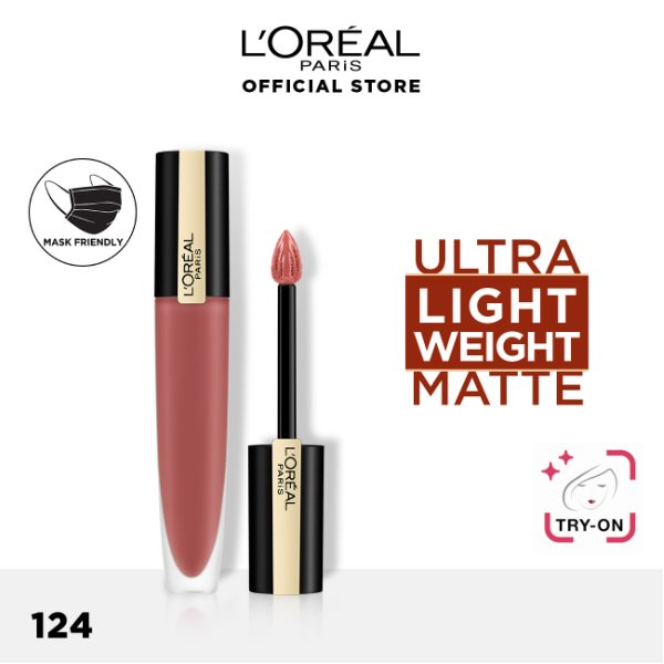 L'Oréal ROUGE SIGNATURE MATTE INK LIQUID LIPSTICK 124 I EMBRACE 7 ML