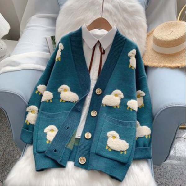 Sweater Coat new Lazy Style Knitted Cardigan Spring And Autumn Tide BLUE S
