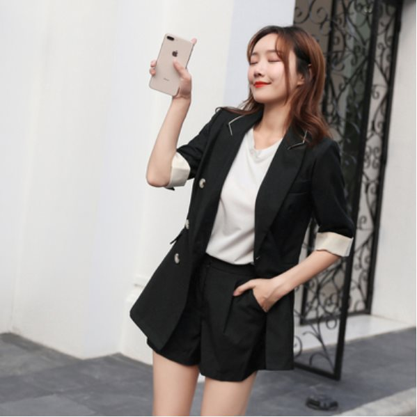 10 pcs of summer thin casual fashion shorts suit Black two-piece + sling S