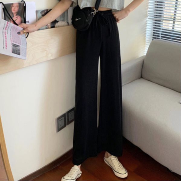 Women's High Waist Drape Casual Pants Black One Size