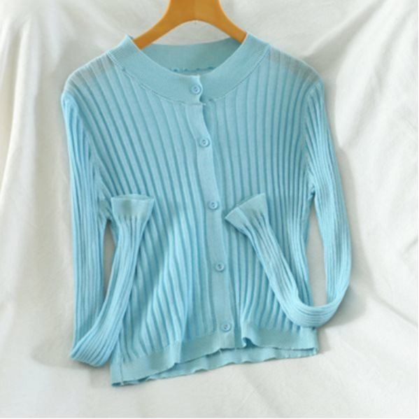10 pcs of Women's Thin Short Jacket Solid Color V-neck Blue One Size