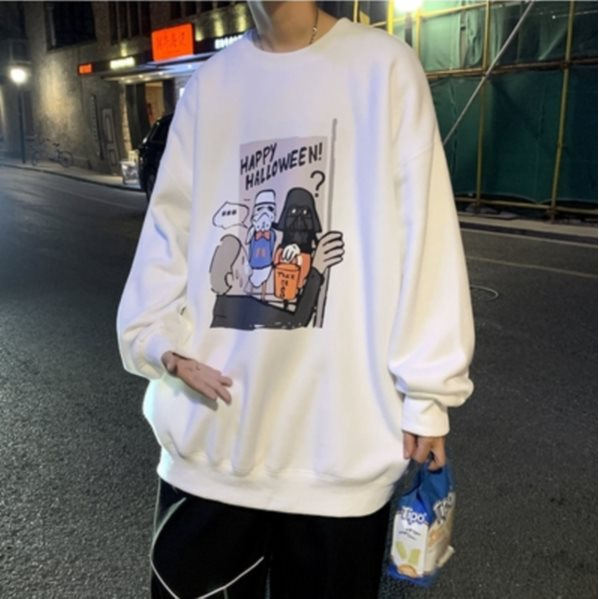 Autumn And Winter Korean Trend Ins Wild Round Neck Loose Long-Sleeved T-Shirt M 01