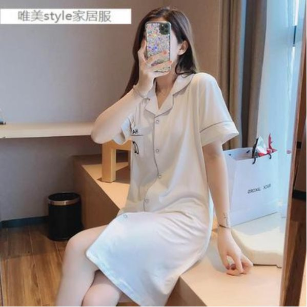 10 pcs of nightdress women short-sleeved thin cotton pajamas 01 160(M)