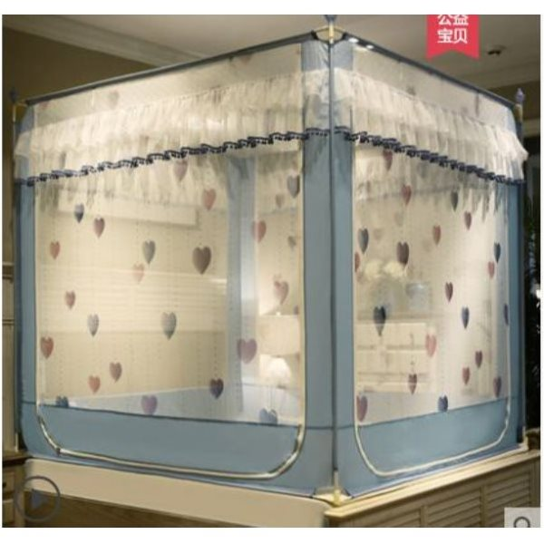 Anti-fall Sitting Bed Zipper Mosquito Net 1.5m (5 feet) bed Nordic(Love Blue)Thick Paint Bracket