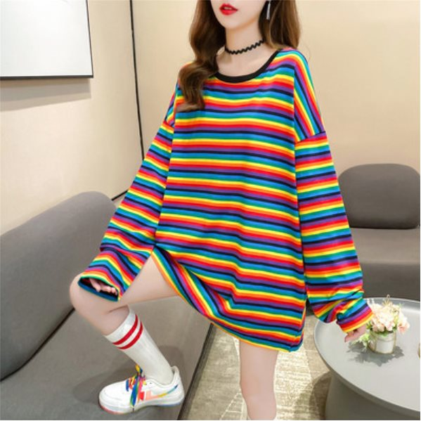 Long-sleeved Inner Base Shirt Rainbow Striped Top Ins Rainbow Stripes M